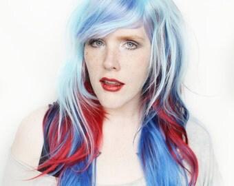 SALE Blue wig | Long Blue wig, Wavy Red wig | Scene wig, Blue Scene wig, Cosplay wig | Blueberry Soufflé