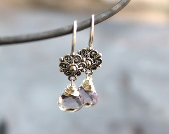 Pink Amethyst Earrings Sterling Silver Drop Earrings, Wire Wrapped Semi-precious gemstone earrings