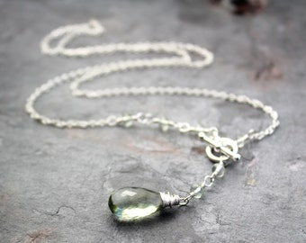 Green Amethyst Necklace Sterling Silver Toggle Clasp Front Close Prasiolite Necklace