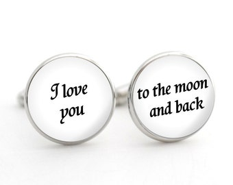 I Love You To The Moon And Back Cufflinks, First Anniversary Gift for Him, Birthday Gift for Husband, Birthday Gift for Boyfriend, 1st Gift