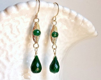 Delicate Emerald Earrings, Herringbone Wrap Earrings, May Birthstone, Birthstone Earrings, Emerald Dangle Earrings:  Ready to Ship