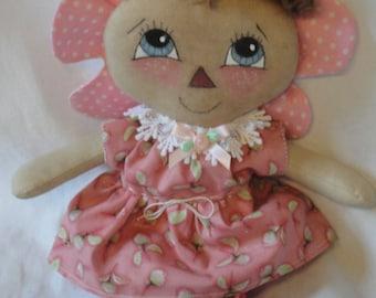 Primitive flower dolls, sitting cloth flower dolls, shelf sitters, hand made girl flower dolls, summer flower dolls by Morning Mist Designs