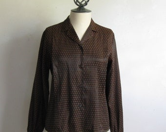 Vintage 1960s Blouse Brown Black Rayon Stripe 60s Secretary Top Medium Chemise
