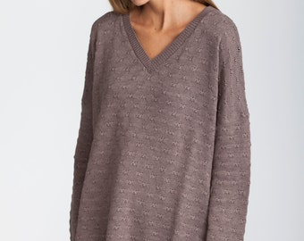 Oversized Sweater, long sleeves V neck sweater, brown knit top, knitted pullover, plus size knit, loose fit, oversized chunky knit sweater