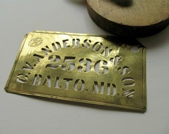 Vintage Brass Stencil Mulinari C V Anderson & Son 2536 Balto MD Antique Metal Sign Business Address Industrial Crate Advertising Wall Decor