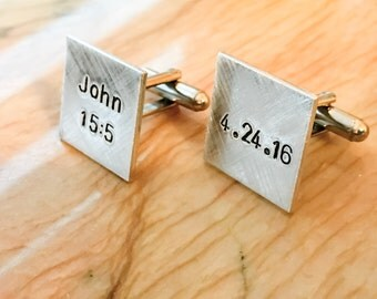Square, Round, Flat or Domed Personalized Cuff Links, Hand Stamped Cufflinks, Wedding Party, Gift for Him, Personalize with Your Name, Quote