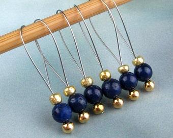 Stitch Markers, Knitting, Lapis Lazuli, Semi-Precious Stones, Snag Free, Blue, Knitting Tool, Knitting Accessory, Handmade, Knitters Gift