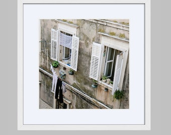Framed Laundry Room Wall Art - Rustic Dubrovnik Croatia Travel Photography Print - Square Photo in Frame - Neutral Gray White Mediterranean
