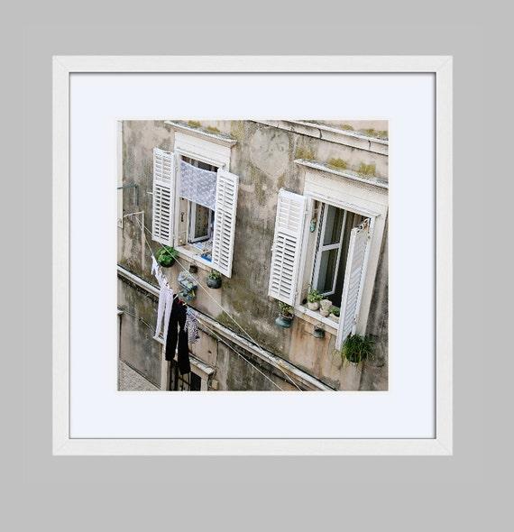 Framed Laundry Room Wall Art Rustic Dubrovnik Croatia Travel