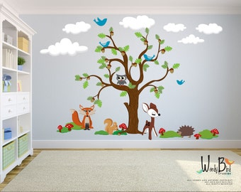 Woodland Wall Decal - Oak Tree Wall Decal Mural with Woodland Animals - Extra Large Nursery kids room decor- re-usable fabric wall decals