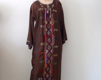 Vintage Embroidered Kaftan Dress - cross stitch ethnic maxi shift - bloomsbury group