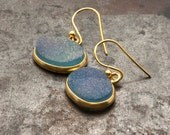 Blue Druzy Gold Earrings, Natural Druzy Agate Light Blue Druzy Gemstone Drop Earrings, Gold Dangle Earrings Druzy Agate Jewelry Gift for Her