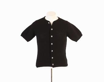 Vintage 60s MEN'S CARDIGAN / 1960s Short Sleeve Black Wool Campus Rockabilly Sweater S