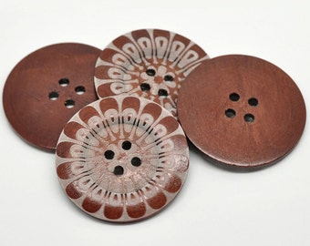 2 Huge Wood Buttons Extra Large 60mm Rich Brown with Abstract Design - BUT249