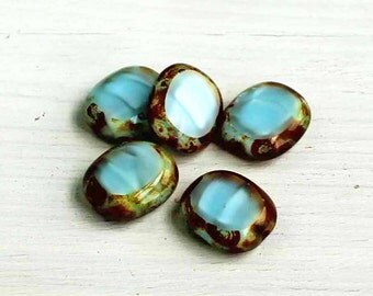 4 Czech Glass Beads 14mm x 12mm Turquoise and Brown Tones - CB94