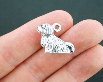 2 Dog Charms Antique Silver Tone 3 Dimensional Sitting Spaniel - SC4241