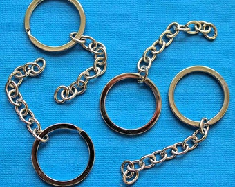 5 Key Chain Rings Split Ring 30mm with Attached 10 Link Chain - FD298