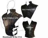 Baddie Black Leather Vest and Priest Collar
