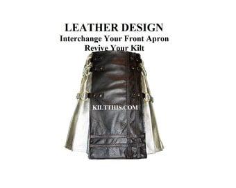 Interchangeable Utility Kilt Front Apron Sold Separately - Gear Design - Black Leather Double Cross Baddie Apron
