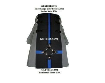Interchangeable Utility Kilt Front Apron Sold Separately - Gear Design - Black with Blue Cross