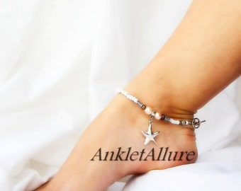 Beach Anklet Starfish Anklet Pearl Ankle Bracelet Cruise Vacation Ankle Bracelet Silver Ankle Bracelet