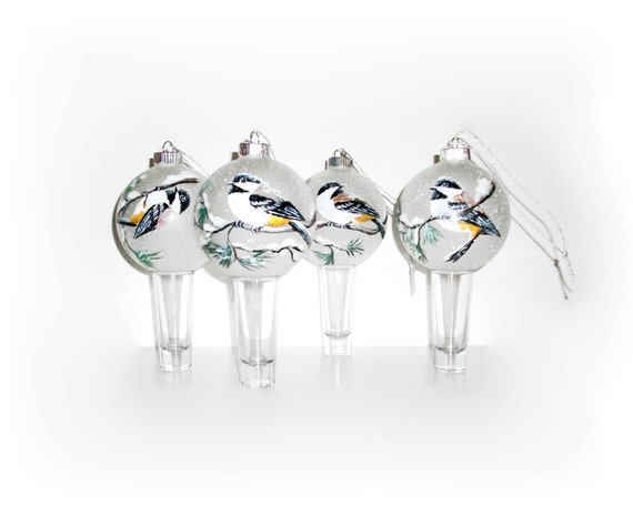 Chickadees Hand Painted Glass Ornaments Birds Snow Pine Tree Branches Christmas Ornaments Black Chickadees Frosted or Clear Bird Ornaments