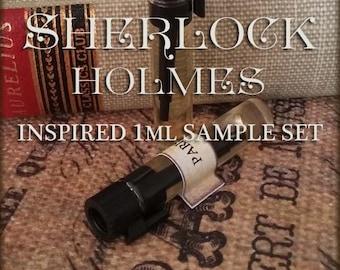 SHERLOCK HOLMES inspired Perfume Sampler / 1ml Perfume / Sherlock Perfume Cologne / vegan perfume oil