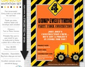 Construction Party Invitation | Construction Birthday Invitation | Construction Invitation | Dump Truck Party Invite | Amandas Parties To Go