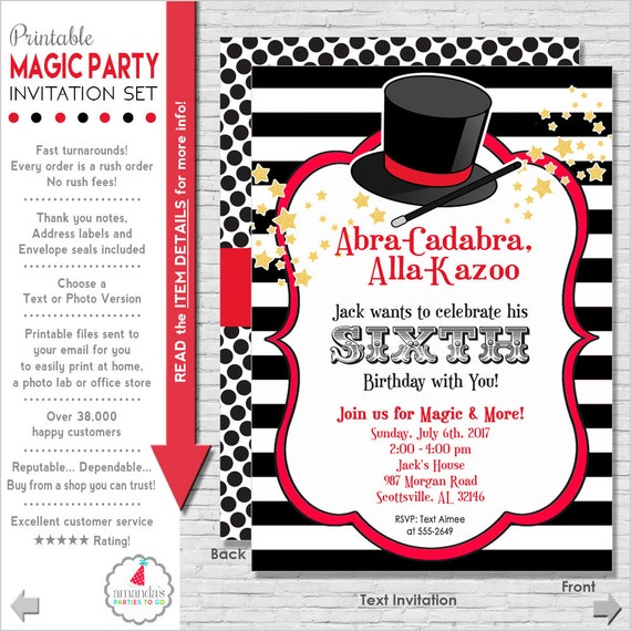 Magic Party Invitation Magic Birthday Invitation Magic – Magic Party Invitations