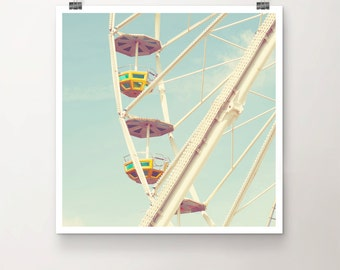 Up - Fine Art Print of a vintage Ferris Wheel in beautiful soft Colors