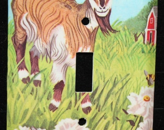 Goat My Little Book of Farm Animals Switch Plate Wallplate Light Cover