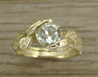 Leaf Engagement Ring, Green Amethyst Engagement Ring,  Yellow Gold  Ring With Green Amethyst, Engagement Ring with Green Amethyst,
