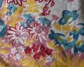 Vintage Tablecloth Floral The Pride of Flanders Pink Aqua Yellow Floral Mid Century Retro Shabby Cottage Chic Farm Decor