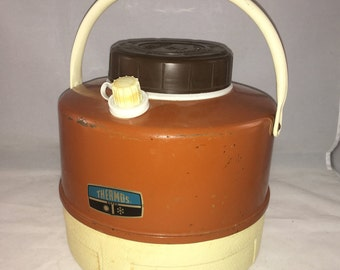 Brown and Tan Thermos Picnic Water Jug Cooler