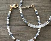 Dendrite Opal & Moonstone Bracelet | Gemstone Bracelet | Beaded Bracelet | Opal