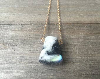 Rainbow Moonstone Necklace | 14k Gold Fill Chain