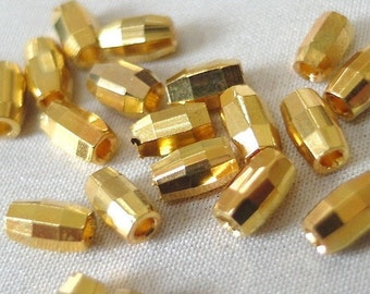 40 Brass Faceted Tube Beads, 6mm long x 3.5mm wide. 1.5mm diameter hole, 40 pieces