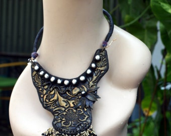 """Polymer Clay and Cultured Pearl Handmade Necklace - """" Sassy Bib"""" Contemporary STATEMENT Necklace"""