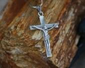 Sterling Silver Crucifix Pendant, Necklace,Valentines day, Vintage Jewelry, Cross, Jesus, .925, catholic jewelry