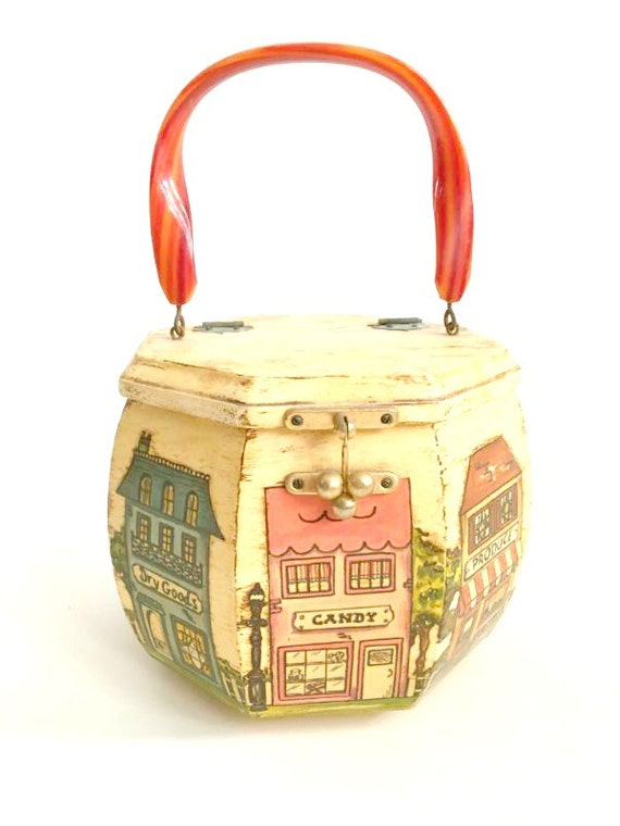 Vintage 70's Wood Purse Folk Art Decoupage City Octagonal Wood Bag Storage Box Primitive Art OOAK Lucite Clutch