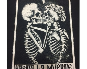 BAJUES Hasta La Muerte Tarot Card Unisex Screen Printed Tee