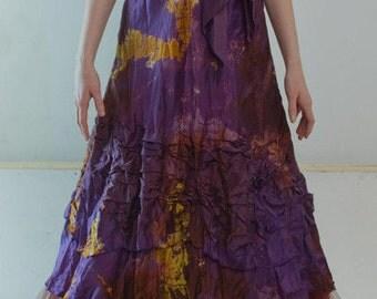 purple wedding boho chic bridal dresses beach wedding dress hand made wedding gowns tie dye bridal