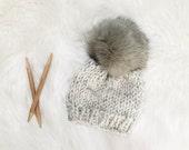 Baby Hat Knit Fur Pom Pom Beanie Newborn Photography Prop Chunky Knitted Winter Hat Cap // GREY POM