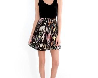 Brush Stroke and Black Velvet Fit and Flare Dress