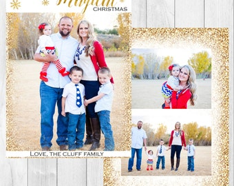 "Photo Christmas Card: Glitter // 5x7"" printable"
