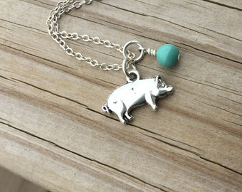 Pig Necklace -Pig Charm with an accent bead in your choice of colors