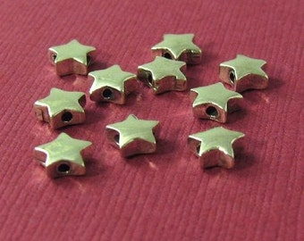 Sterling Silver Star Beads  Chunky Sparklers  6.25mm x 1.02 Hole 4 pieces MB23