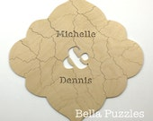 100 pc Wedding Guestbook Puzzle, guestbook alternative, custom wood BOHO puzzle guest book Bella Puzzles™ medallion wedding bohemian