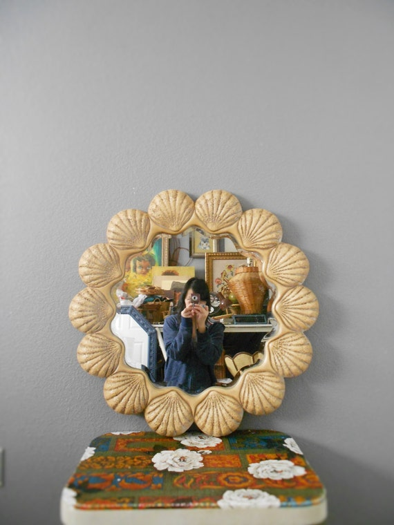 vintage large beveled seashell wall hanging mirror / beach house decor