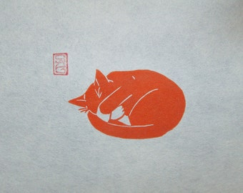 Peat Weasel Takes a Nap - Ginger Cat Lino Print